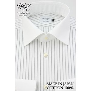 (ウィンザーノット アルバートアベニュー) Windsorknot Albert Avenue クレリックのワイドカラードレスシャツ 長袖 日本製 綿100% 白地ドビーに黒のストライプ|windsorknot