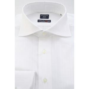 (フランクリンミルズ) FRANKLIN MILLS オルタネイトストライプドビーのワイドスプレッドカラーシャツ 白無地 綿100% 日本製 Italian Slim windsorknot