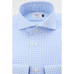 (ウィンザーノットアルバートアベニュー)WindsorknotAlbertAvenueギンガムのホリゾンタルワイドカラードレスシャツ スカイブルー×白 日本製 綿100%80双(細身)|windsorknot