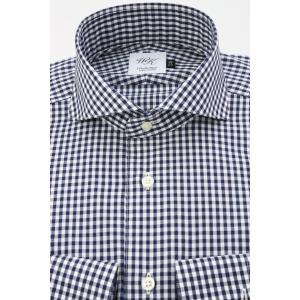 (ウィンザーノットアルバートアベニュー)WindsorknotAlbertAvenueギンガムのホリゾンタルワイドカラードレスシャツ ネイビー×白 日本製 綿100% 80双(細身)|windsorknot