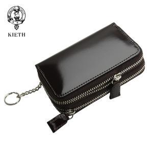 (キース) KIETH コードバンのWファスナーのコイン&キーケース ダークブラウン 日本製 馬革 ...