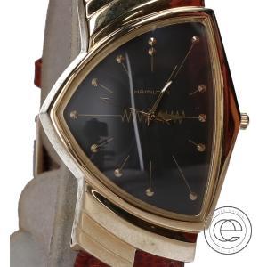 HAMILTON ハミルトン K18 6108 VENTURA QUARTZ ベンチュラ クオーツ レザーベルト  腕時計 ブラウン/ゴールド/ブラック メンズ|wine-king