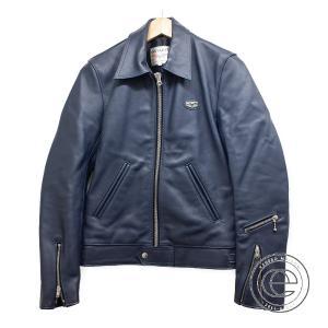 美品   Lewis Leathers ルイスレザー 60T CORSAIRコルセア タイトフィット シングルライダース ジャケット 34 ネイビー メンズ|wine-king
