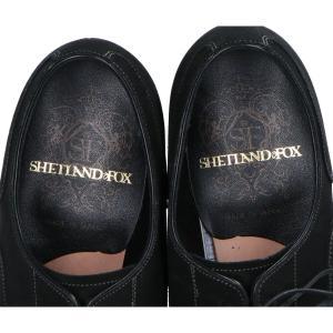 美品   SHETLANDFOXシェットランドフォックス A6 2861 スエード ストレートチップ シューズ7  ブラック  メンズ|wine-king|06