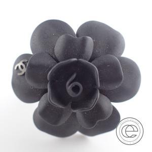 CHANELシャネル 09A カメリアモチーフ リング 13号 指輪 マットブラック/シルバー レディース|wine-king