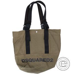 DSQUARED2 ディースクエアード ロゴハンドル キャンバス トートバッグ カーキ/ブラック メンズ wine-king