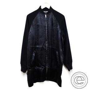 BLACK COMME des GARCONS ブラックコムデギャルソン AD2013 1M-J020 キュプラ/ウール切替 ロングジップアップブルゾン S ブラック|wine-king