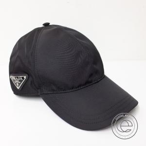 国内正規 20年製 PRADAプラダ 2HC274 2B15 ナイロン 三角ロゴプレート付 ベースボールキャップ/ 帽子 M ブラック メンズ|wine-king