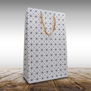 ワイン2本用紙袋(白色 格子柄)ギフトボックスサイズ対応|winecellarescargot