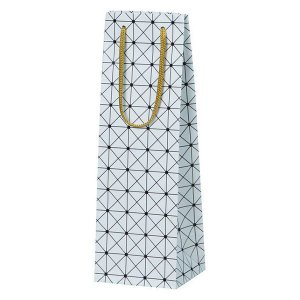 ワイン1本用紙袋(白色 格子柄)ギフトボックスサイズ対応|winecellarescargot