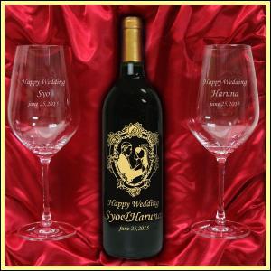 結婚祝いに 名入れ赤ワイン&名入れペアワイングラスギフト|winekatayama