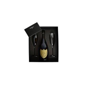 ドンペリニヨン 白 2006年 ロゴ入りオリジナルフルートグラス2脚付き ギフトセット 正規 (フランス シャンパン)|wineuki