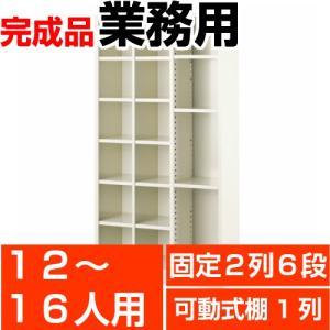 オフィス シューズボックス 業務用 12人用 可動式棚付きタイプ 2列6段(12人用)+1列フリー(棚付3枚付) スチール製|wing0