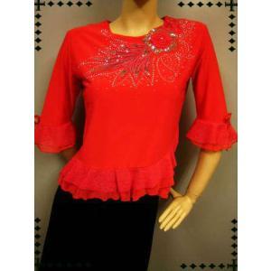 コーラス衣装 発表会衣装  ミニスパンコール刺繍にジルコントップス 朱赤L サイズ|wing12