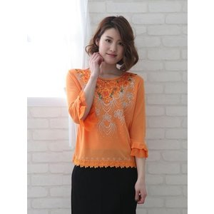 コーラス衣装 発表会衣装 発表会トップスLサイズ  オレンジ|wing12