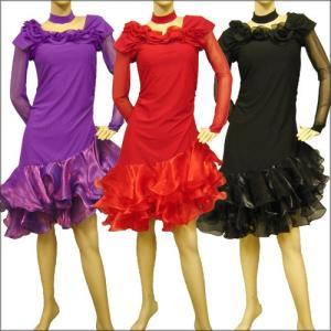 社交ダンス ダンス カラオケ 演奏会 コーラス ドレス レディース ダンスウェア 衣装 ラテンドレス モダンドレス  赤/黒/パープル 全3色|wing12