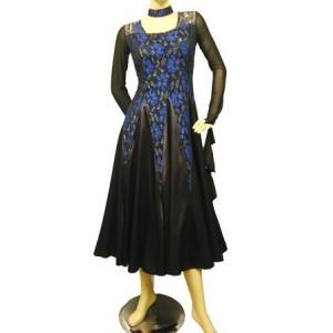 社交ダンスドレス プリントレースモダンドレス スカート部分はサテン地を使用しています ブルー|wing12