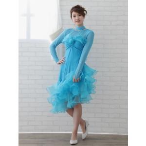 社交ダンス ダンスドレス 衣装 カラオケ 演奏会 ドレス レディース ダンスウェア ラテンドレス MからLサイズ ブルー|wing12