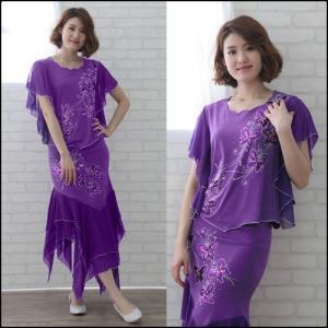 社交ダンススーツ フレンチスリーブトップスにイレギュラー二段シスルースカートスーツ ステージ衣装としても最適では 紫|wing12