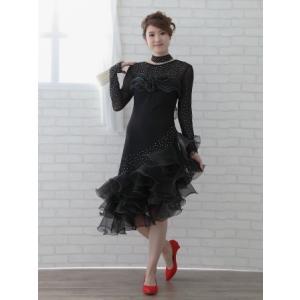 社交ダンス ダンスドレス 衣装 カラオケ 演奏会 ドレス レディース ダンスウェア ラテンドレス MからLサイズ 黒|wing12