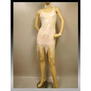 社交ダンスドレス スパンコール裾イレギラーラテンドレス。白地に淡いピンク色のスパンコールが華やか。チョウカー付き。脇ファスナー。胸パットなし。白|wing12