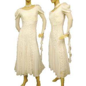 送料無料 即日配送 真っ白なジョーゼットドレス 社交ダンス衣装 社交ダンスドレス モダンドレス wing12