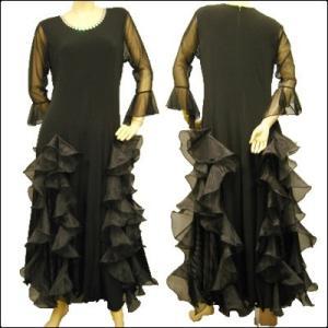 社交ダンスドレス ローウエスト 豪華ボリュームたっぷりのオーガンジーフリル ドレス 黒|wing12