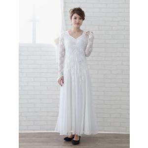 社交ダンスドレス スクエアーネックに ダイヤストーンちりばめた ゆったりモダンドレス 要尺たっぷり  白|wing12