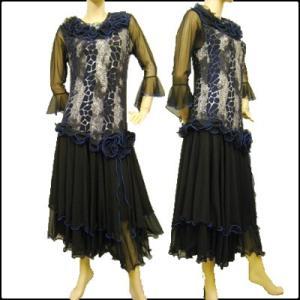 社交ダンスドレス プリントモチーフ モダンドレス ステージ衣装として最適では 黒青|wing12