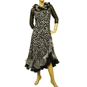 社交ダンスドレス プリントモダンドレス 脇サイドのスリットフリルデザインがおしゃれです 黒・白  |wing12