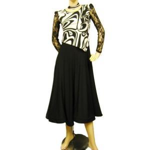社交ダンスドレス セパレーツ風幾何柄モダンドレス スカート部分すそ裏にメッシュ芯入り柔らかく広がります 後ろファスナー 黒/マーブル|wing12