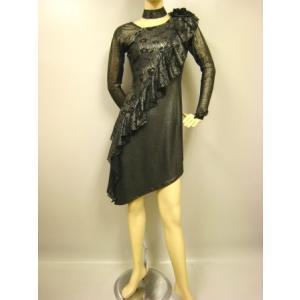 社交ダンスドレス アシメトリーラテンドレス  黒,シルバー|wing12