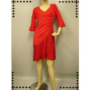 社交ダンスドレス ラメ打ち合わせラテンドレス ステージ衣装としても 赤|wing12
