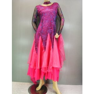 社交ダンスドレス 蛍光色オーガンジーフリルフレアーモダンドレス ピンク|wing12