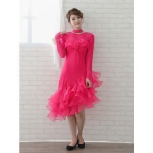 社交ダンス カラオケ 演奏会 コーラス ドレス ダンスウェア 衣装 ラテンドレス オーガンジーのすそ三段フリルラテンドレス Mサイズ から Lサイズ チェリー  |wing12