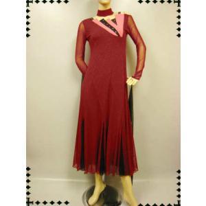 社交ダンスドレス 上品なラメ地モダンドレス  ワイン ピンク|wing12