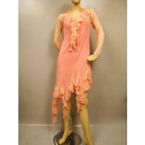 社交ダンスドレス すそ丈ランダムフリル、ラテンドレス。少々ゆったり目サイズです。ピンク|wing12