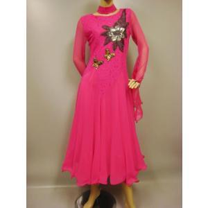 社交ダンスドレス ジョーゼットスパンコール刺繍モダンドレス  ピンク|wing12
