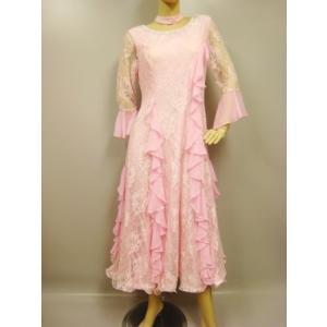 レース素材ドレス、襟元からバストににかけてフリルがかわいいモダンドレス。裏地つき。胸パットつき。薄ピンク・Lサイズ|wing12