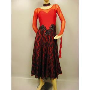 社交ダンスドレス、高級感のあるレース重ねモダンドレス、前後広めな開きです。発表会、カラオケ衣装、にも活躍します。赤|wing12