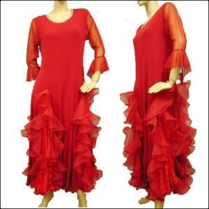 社交ダンスドレス ローウエスト 豪華ボリュームたっぷりのオーガンジーフリル ドレス 赤|wing12