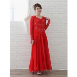 社交ダンスドレス スクエアーネックに ダイヤストーンちりばめた ゆったりモダンドレス 要尺たっぷり  赤|wing12