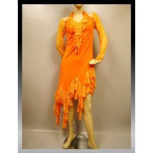 社交ダンスドレス すそ丈ランダムフリル、ラテンドレス オレンジ|wing12