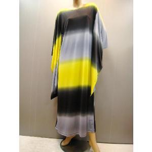 ステージドレス、グラデーションプリントキモノドレス 黄色系 wing12