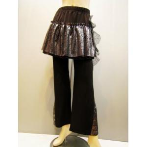 ダンスパンツ オーバースカート付きパンツ シルバーオーバースカートパンツ黒|wing12