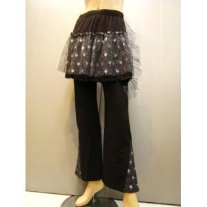 オーバースカート ジャズダンスパンツ  レースパンツ 黒|wing12