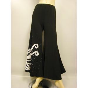 ジャズパンツ 社交ダンス ストレッチパンツ 衣装 オーバースカート パニエ ダンスウェア  白モチーフ刺繍|wing12