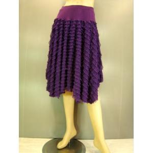 社交ダンススカート ミニフリルイレギュラースカート 紫|wing12