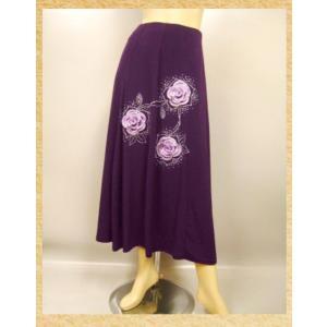 社交ダンススカート 前後身頃に可愛い花モチーフ付きデザイン,八枚接ぎフレアースカート。ロング丈。裏地なし。紫 wing12