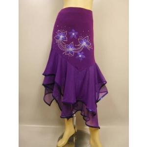 社交ダンススカート、すそ イレギュラーデザインスカート。ラメの花とジルコンがとても豪華。裏地付き。パープル|wing12